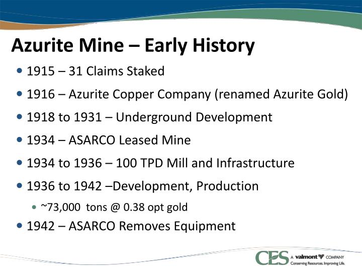 Azurite Mine – Early History