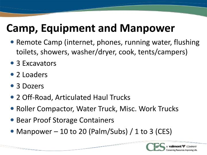 Camp, Equipment and Manpower