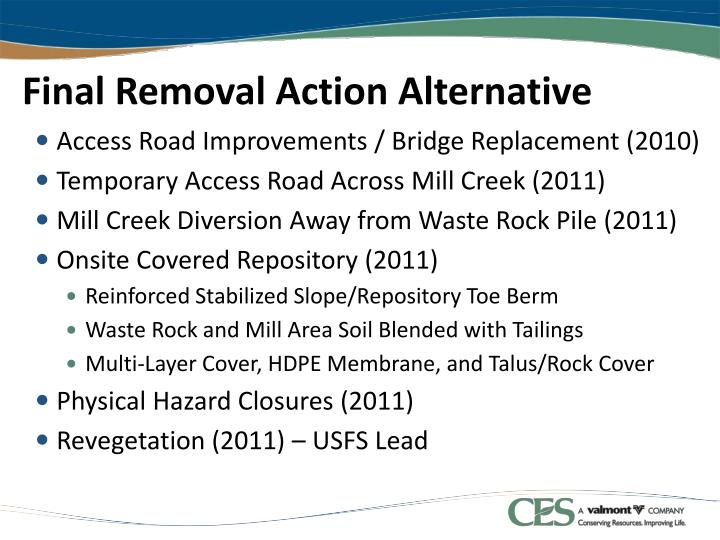 Final Removal Action Alternative