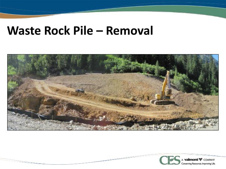 Waste Rock Pile – Removal