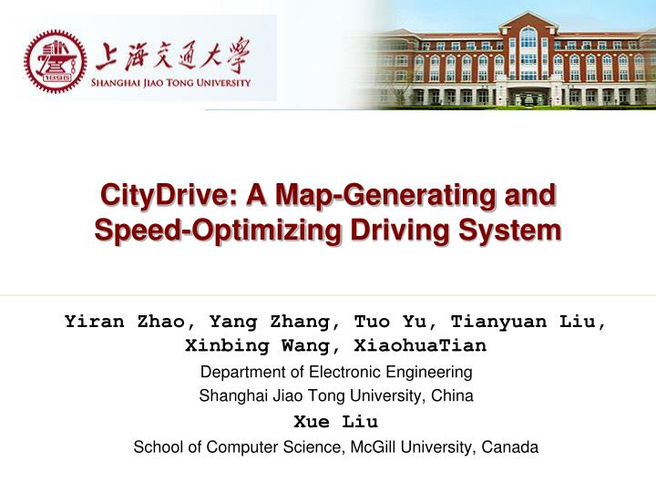 citydrive a map generating and speed optimizing driving system n.