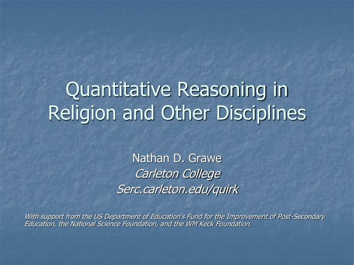 quantitative reasoning in religion and other disciplines n.