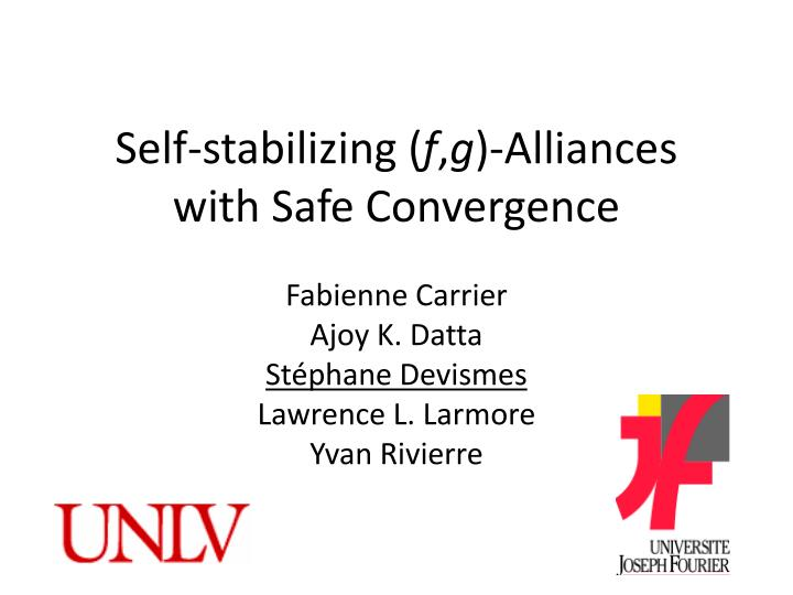 self stabilizing f g alliances with safe convergence n.