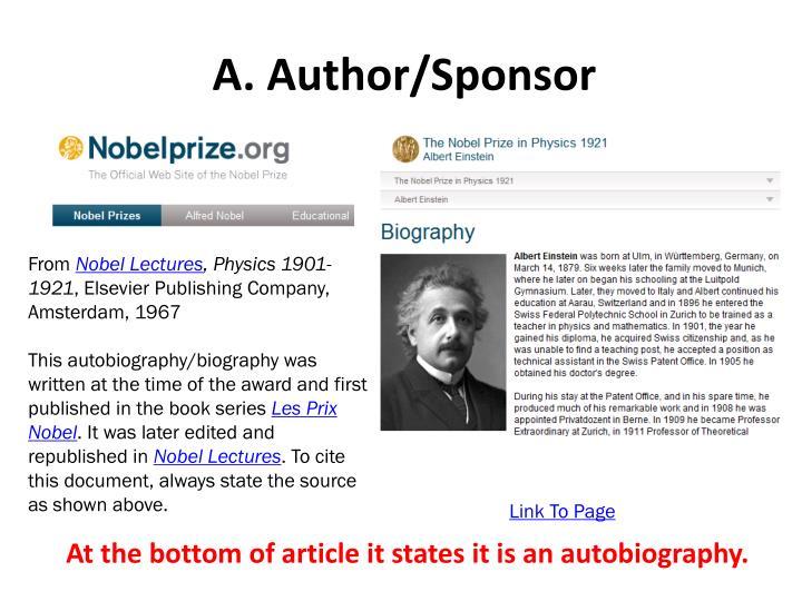 A. Author/Sponsor