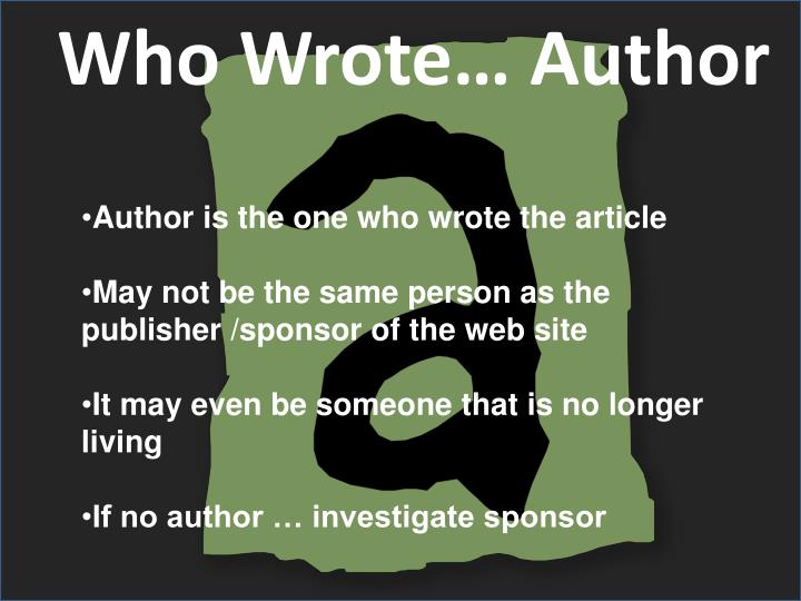 Who Wrote… Author