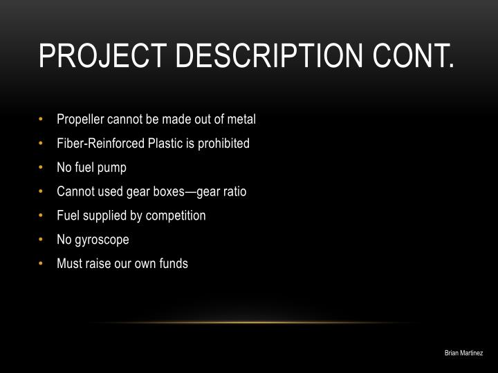 Project description cont.