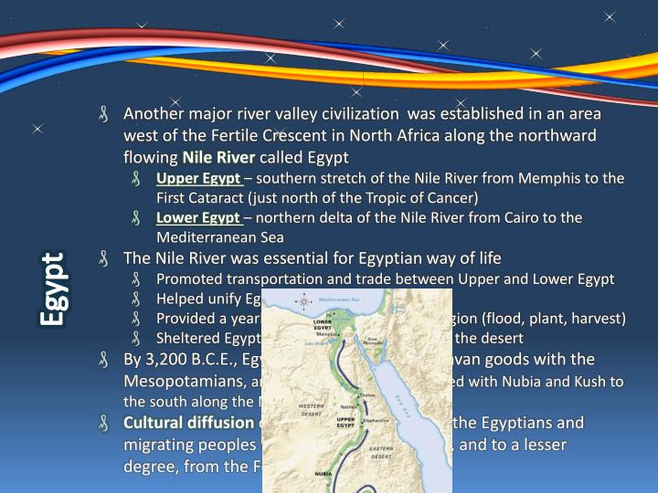 Another major             was established in an area west of the Fertile Crescent in North Africa along the northward flowing