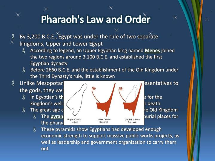 Pharaoh's Law and Order