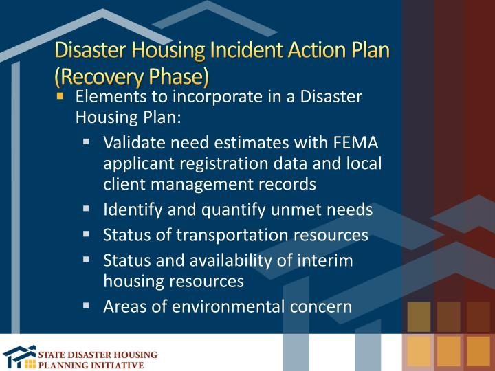 Disaster Housing Incident Action Plan (Recovery Phase)