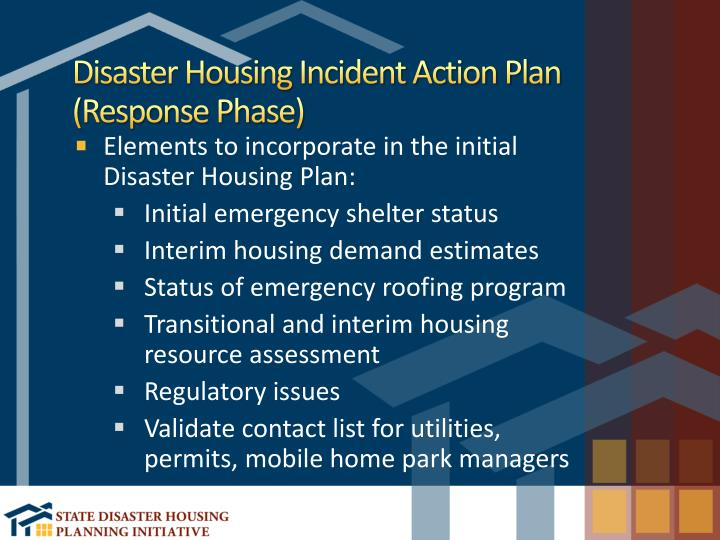 Disaster Housing Incident Action Plan (Response Phase)