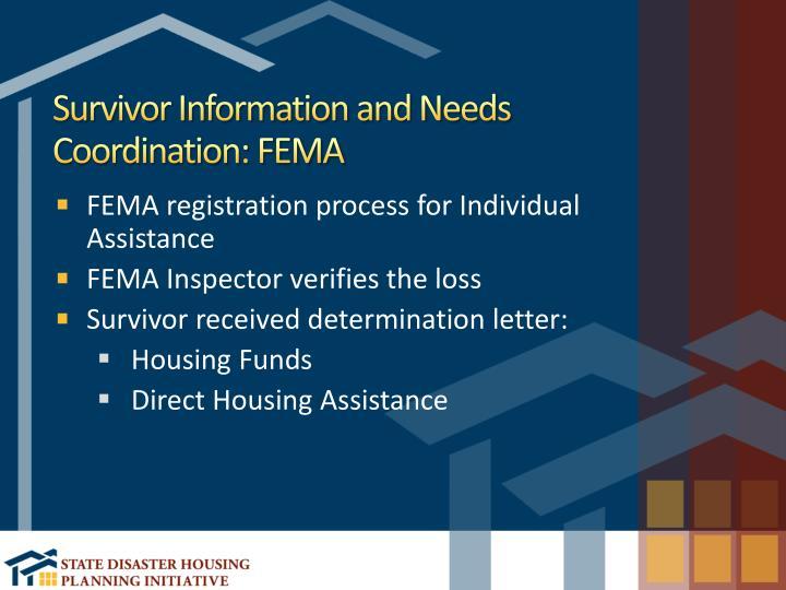 Survivor Information and Needs Coordination: FEMA