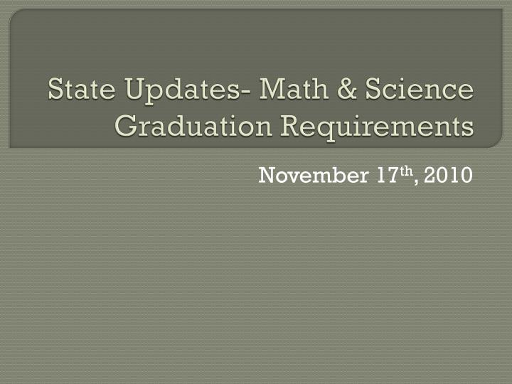 state updates math science graduation requirements n.