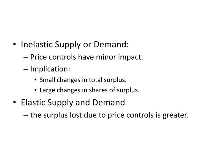 Inelastic Supply or Demand: