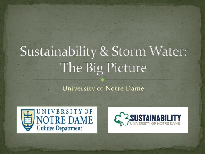 sustainability storm water t he big picture n.