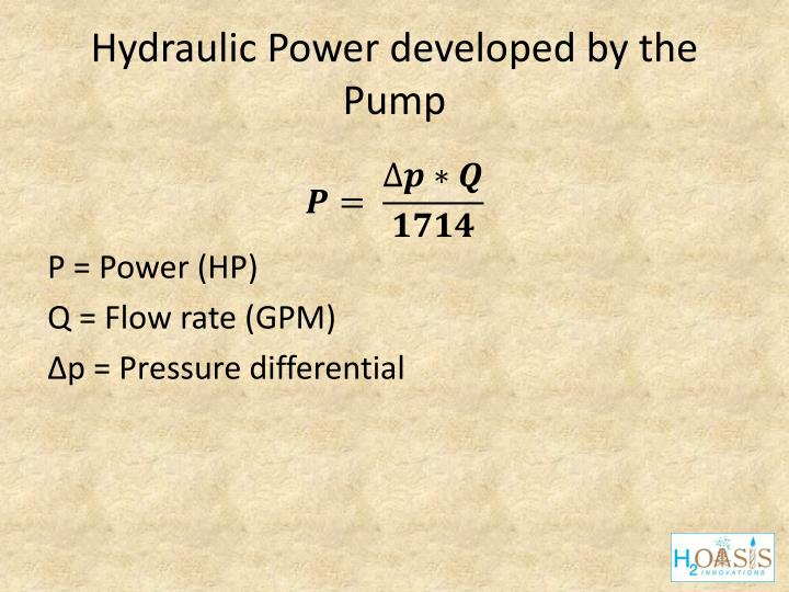 Hydraulic Power developed by the Pump