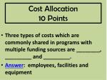 cost allocation 10 points