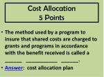 cost allocation 5 points