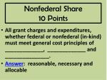 nonfederal share 10 points