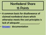 nonfederal share 15 points