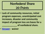 nonfederal share 20 points