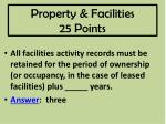 property facilities 25 points