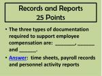 records and reports 25 points