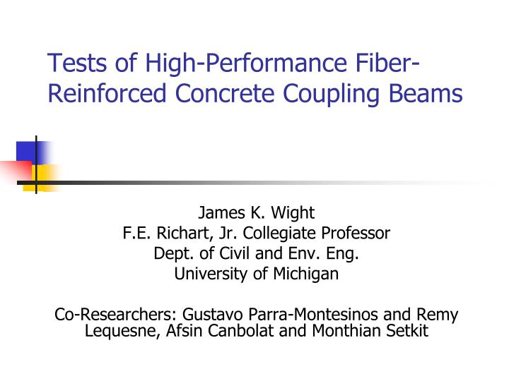 tests of high performance fiber reinforced concrete coupling beams n.