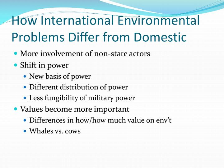 How International Environmental Problems Differ from Domestic