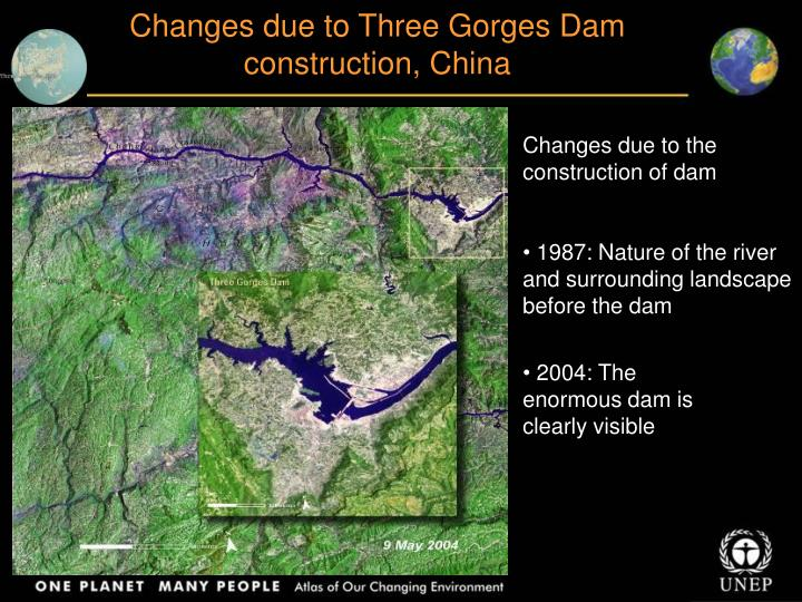 Changes due to Three Gorges Dam construction, China