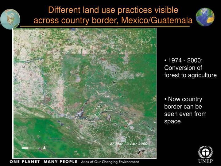 Different land use practices visible