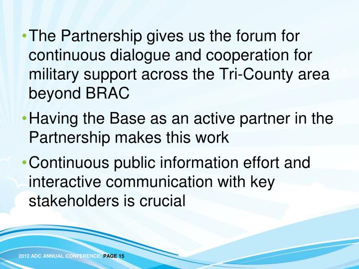 The Partnership gives us the forum for continuous dialogue and cooperation for military support across