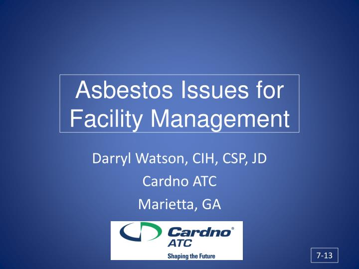 asbestos issues for facility management n.