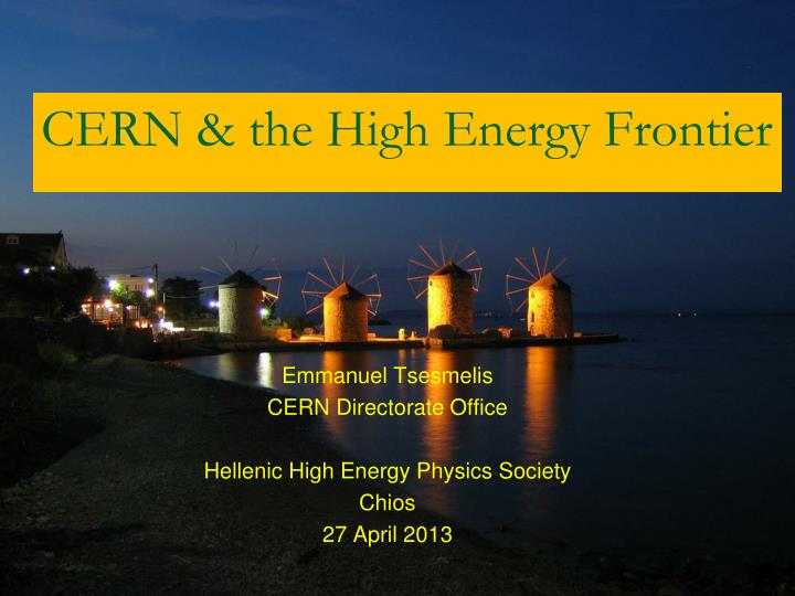cern the high energy frontier n.
