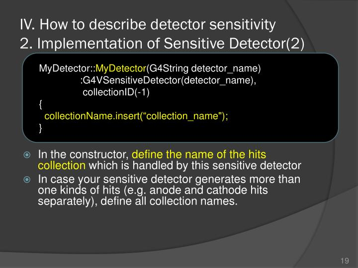 IV. How to describe detector sensitivity