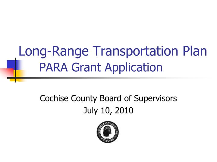 long range transportation plan para grant application n.