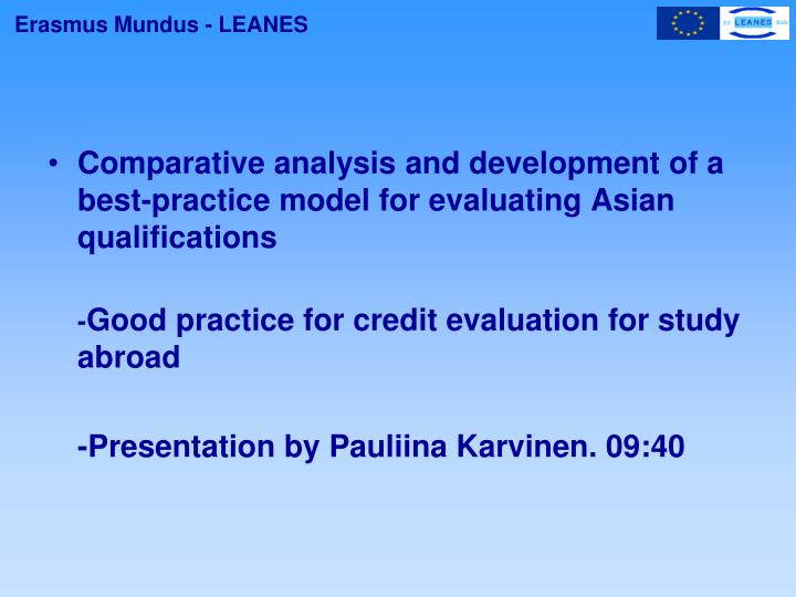 Comparative analysis and development of a best-practice model for evaluating Asian qualifications