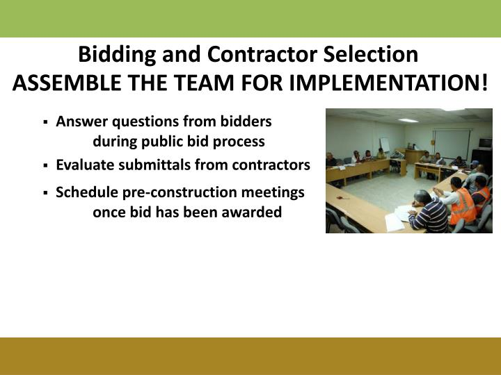 Bidding and Contractor Selection