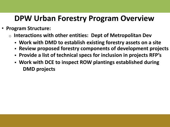 DPW Urban Forestry Program Overview