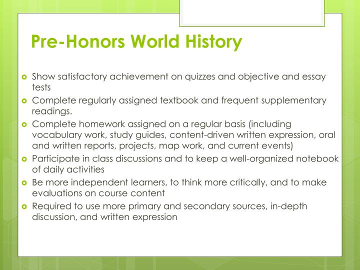 Pre-Honors World History
