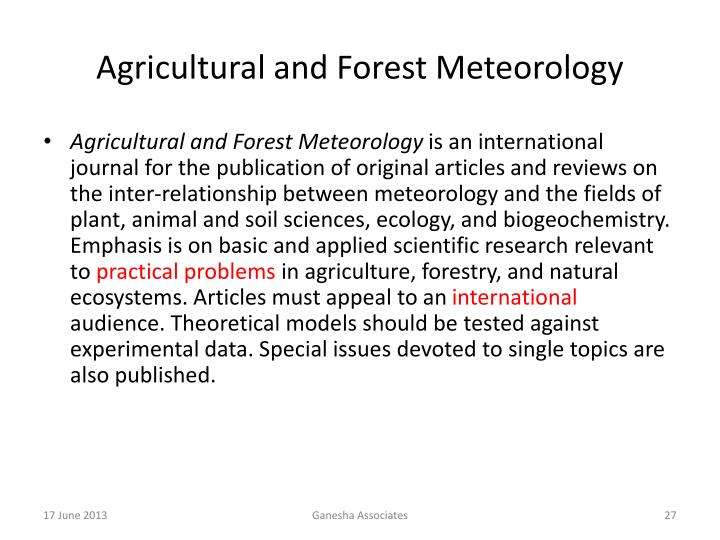 Agricultural and Forest Meteorology