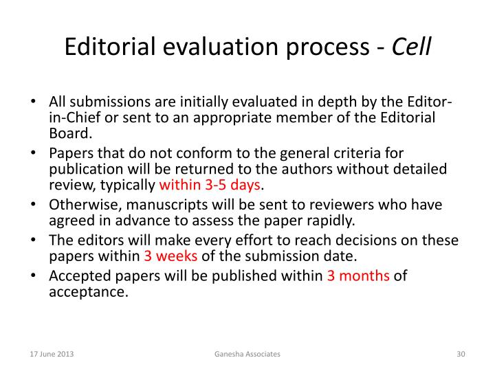 Editorial evaluation process -