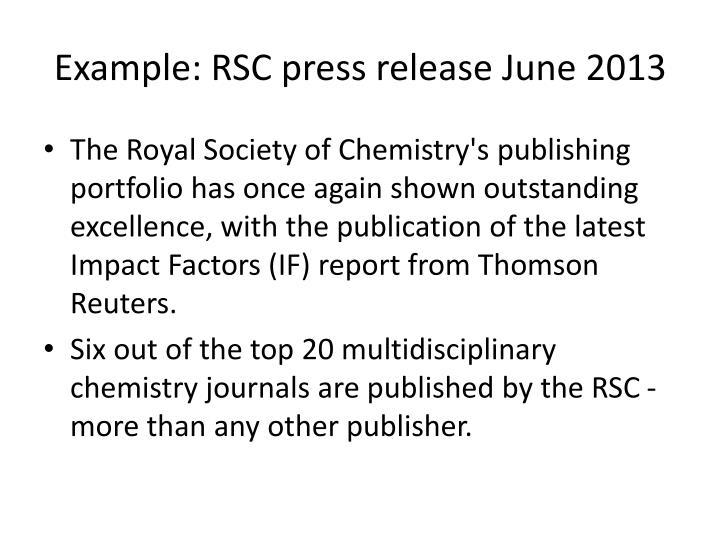 Example: RSC press release June 2013