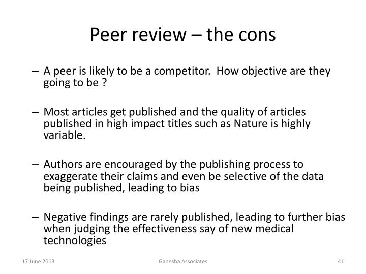 Peer review – the cons