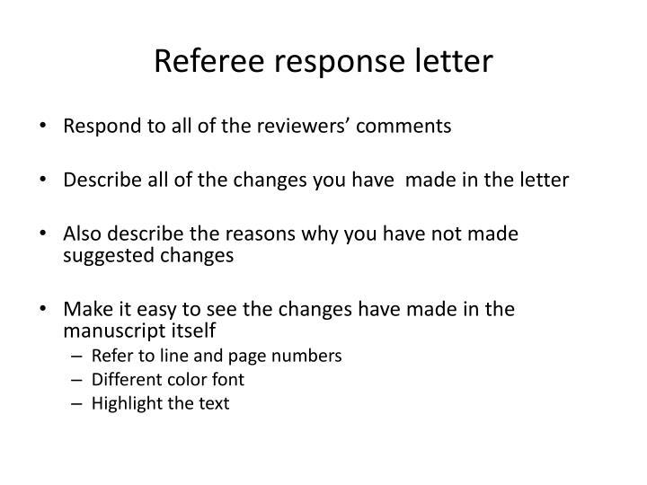 Referee response letter