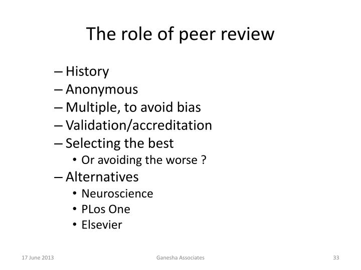 The role of peer review