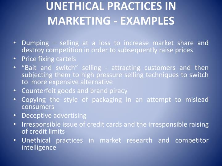 unethical marketing examples
