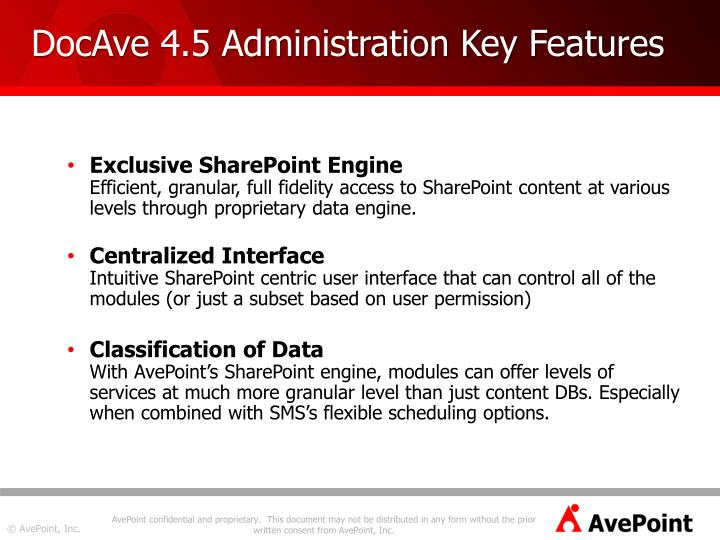DocAve 4.5 Administration Key Features