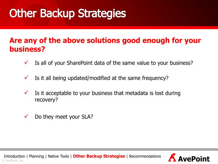 Other Backup Strategies