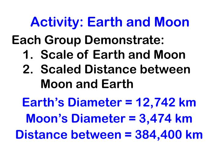 Activity: Earth and Moon