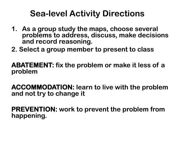 Sea-level Activity Directions